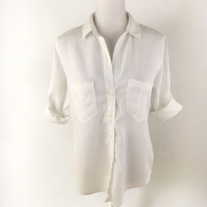 Anthropologie Cloth and Stone white button shirt M